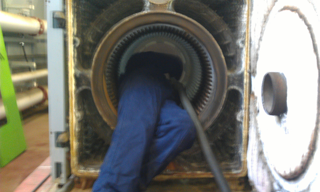 Servicing a large oil fired cast-iron boiler